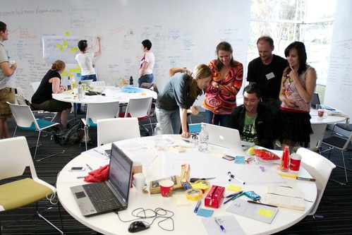 Teams working on ideas at Global Service Jam in Canberra