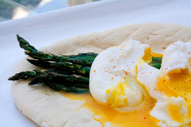 Roast Asparagus with Poached Eggs