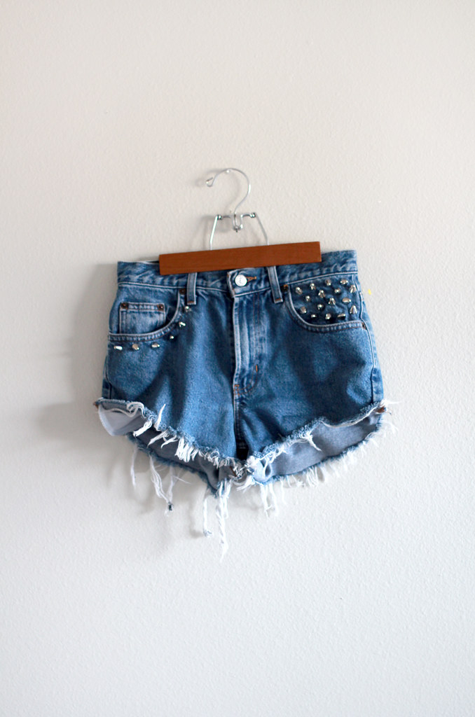 tarte vintage's DIY vintage high waist spike studded cut-off destroyed shorts available at shoptarte.com