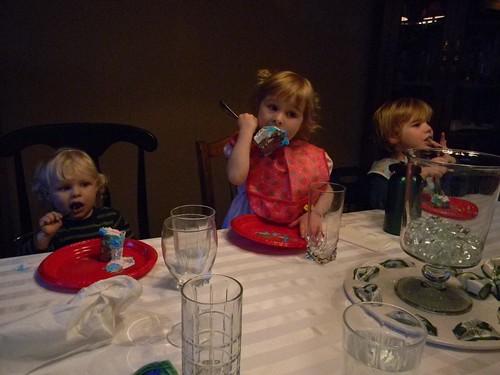 enjoying Poppy's cake