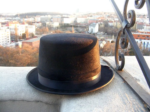A hat on a ledge.
