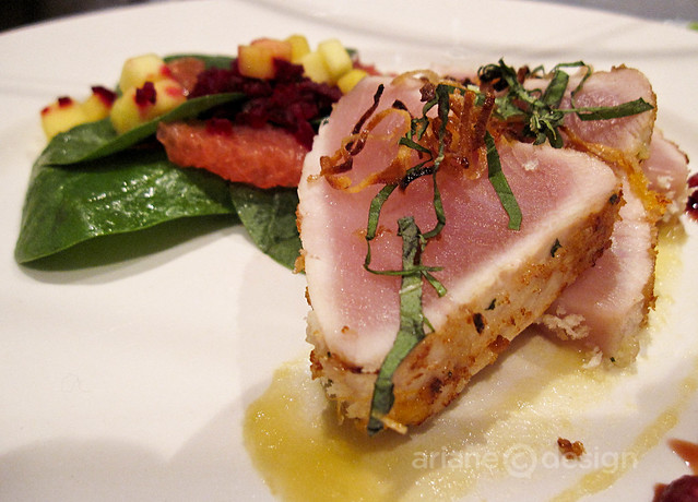 Basil and Panko crusted albacore tuna mango apple puree, pomegranate spinach salad