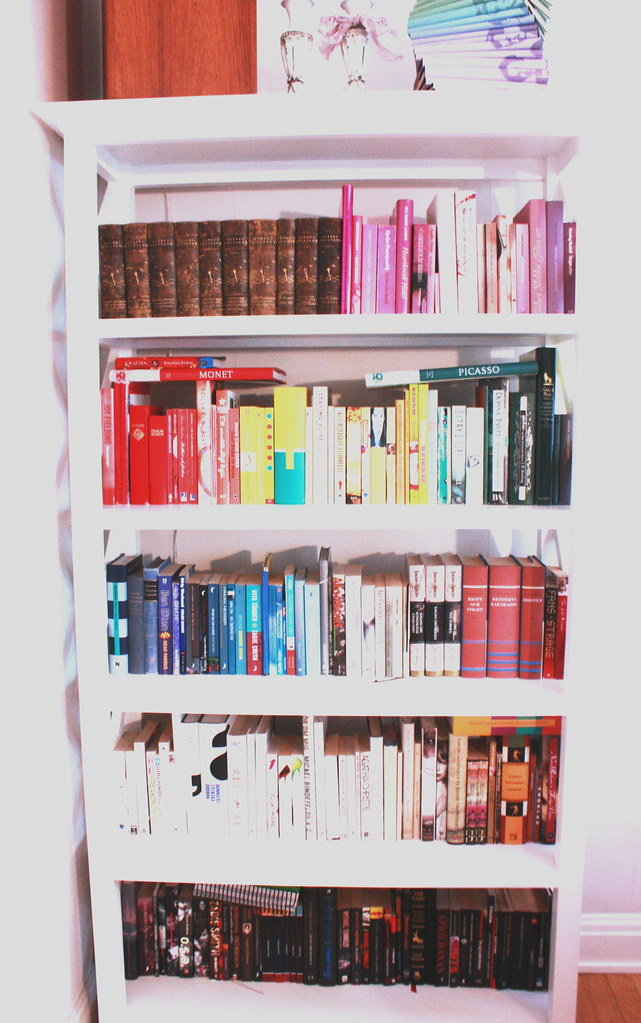 my color organized bookshelves.