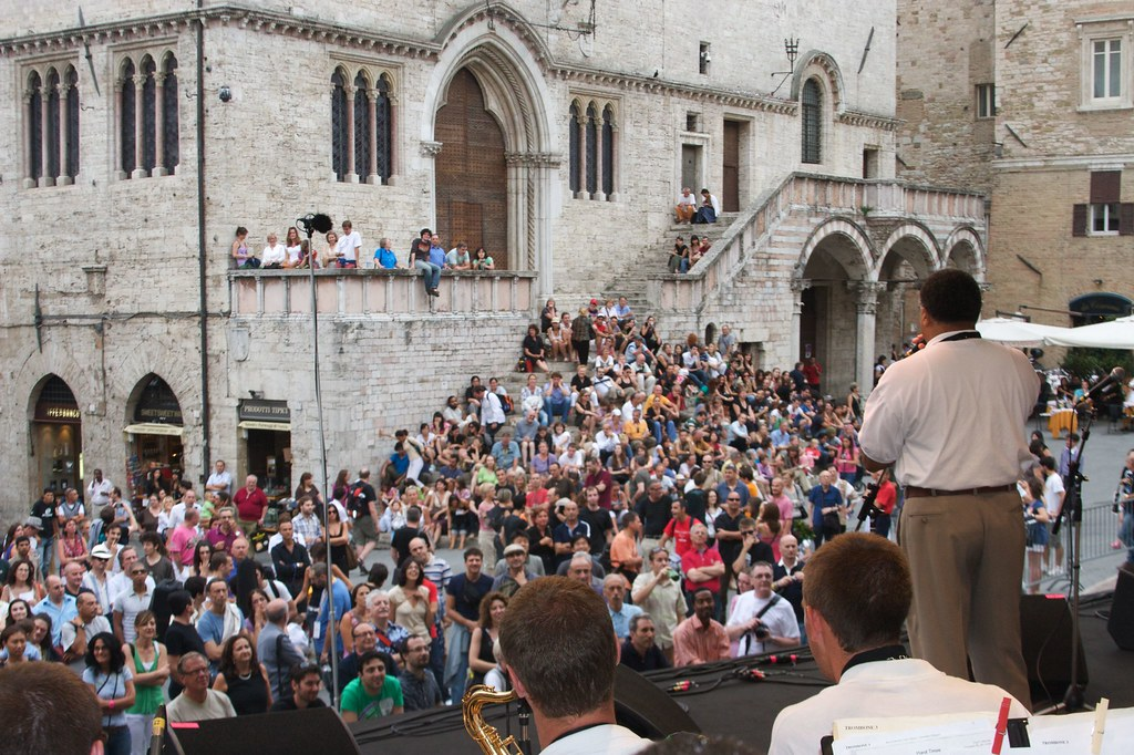 Garfield High School Jazz Ensemble performs in the Piazza IV Novembre, as part of the Umbria Jazz Festival in Perugia
