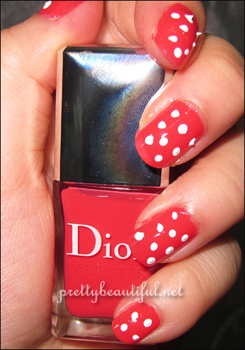Dior Lucky #659 nail polish with polkadots