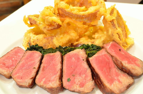 Grilled Steak, Red Onion Rings & Truffled Spinach