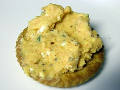 Beer Cheese Spread on a Ritz Cracker
