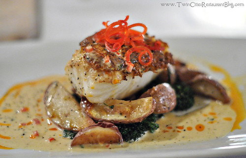 Crab Encrusted Certified Chilean Sea Bass with Roasted Baby Red Potatoes at Acqua Restaurant ~ White Bear Lake, MN