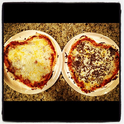 Photo A Day: Day 14: Hearts. Heart shaped pizzas. Our family tradition for Valentine's day.