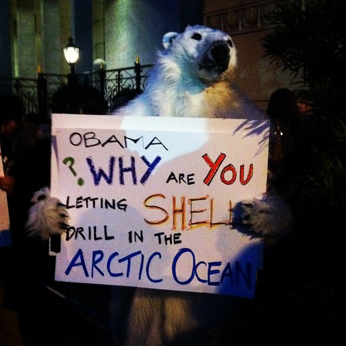 Polar bear protesting @barackobama #obama2012
