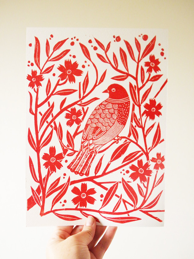 Linocut Block print- Red bird