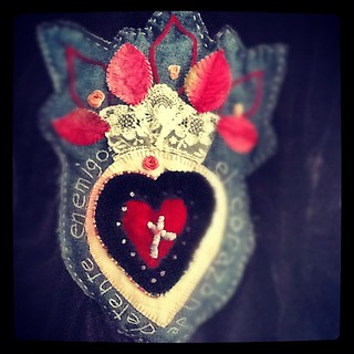 1st love SACRED HEART Mixed Media Fabric Collage and Embroidery