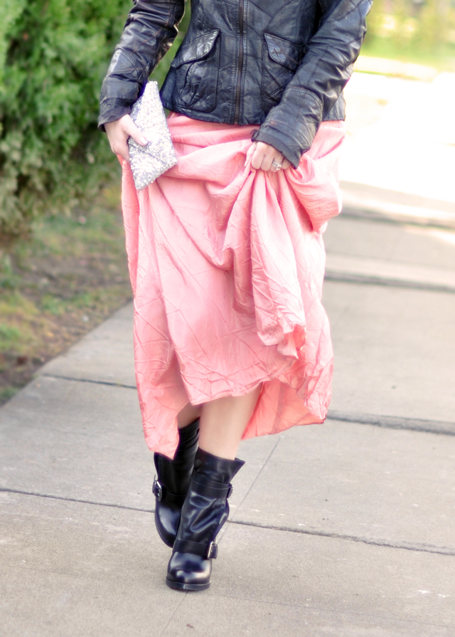 pink maxi skirt and  leather  boots and jacket