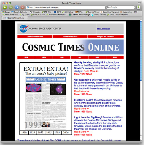 Cosmic Times website