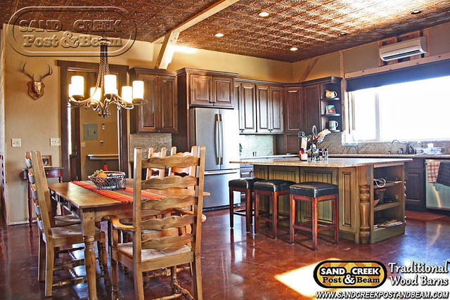 Kitchen interior home sand creek post beam for Interior pictures of post and beam homes