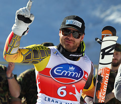 Jan Hudec celebrates his World Cup super-G podium in Crans-Montana, Switzerland.