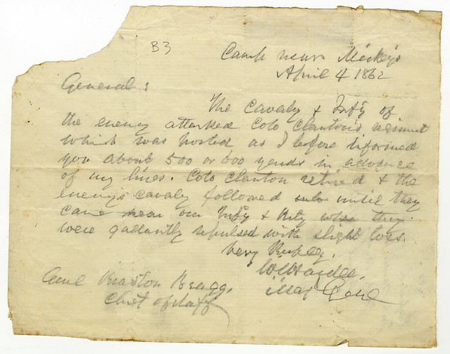 Letter from William J. Hardee to Braxton Bragg, 4 April 1862