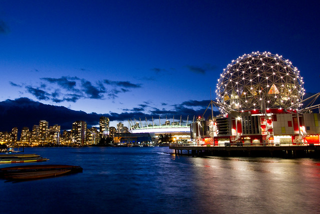 Vancouver's Science World At night