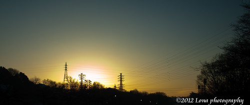morning sunrise dawn power cable
