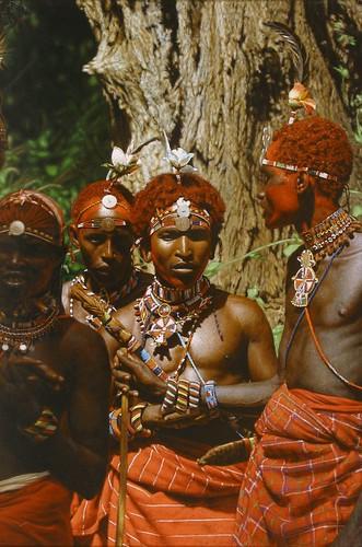 """'Samburu Warriors' oil on board 29"""" x 19½"""