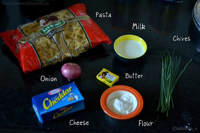 Ingredients for Pasta in White Sauce