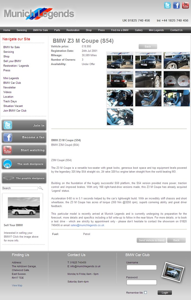 2001 M Coupe | Black Sapphire | Laguna Seca Blue/Black | Munich Legends Ad Screenshot