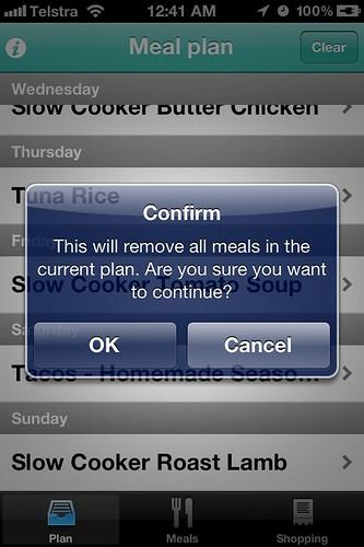 Menu Planner App - clear plan