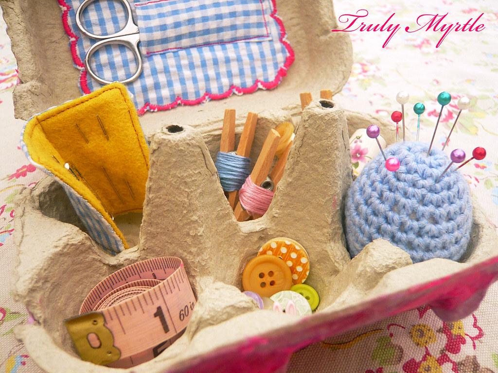 Egg Carton Sewing Box