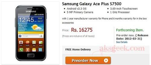 Samsung Galaxy Ace Plus S7500 pre-order