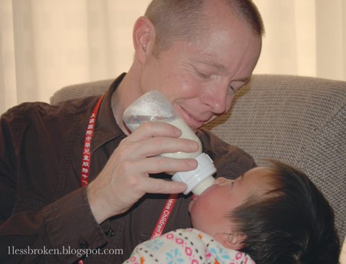 blog dad feeding lily