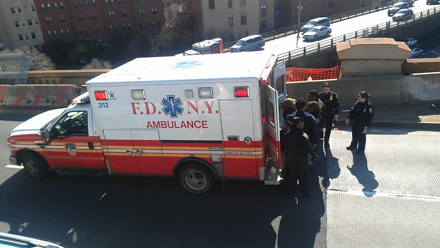 Jumper / EDP being loaded into an ambulance on the Brooklyn Bridge
