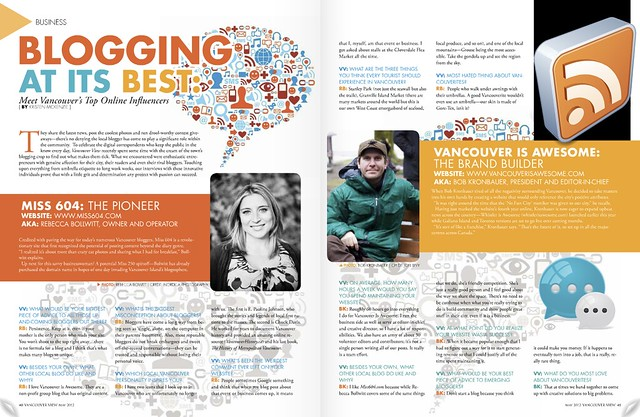 Featured in Vancouver View Magazine. May issue is out now - pick up a copy!