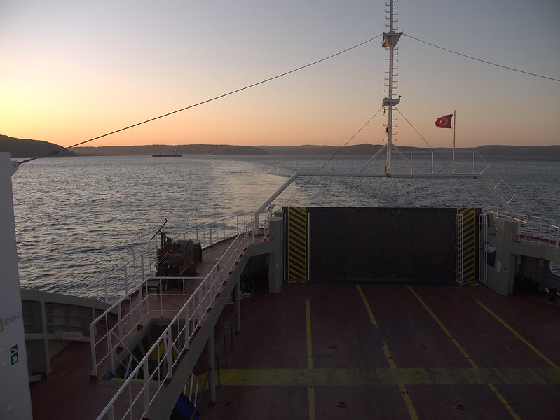 Traversing the Dardanelles near Çanakkale on a ferry