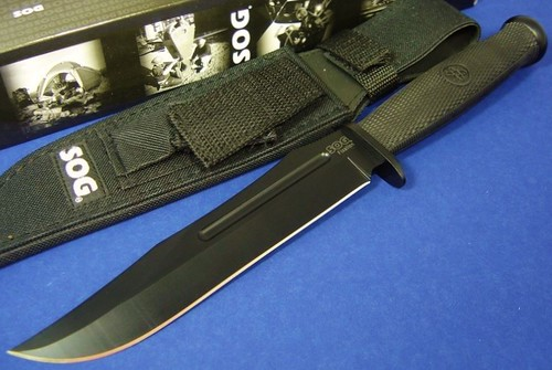 "SOG Fusion Fixation Bowie Knife 7"" Plain Edge Blade with Nylon Sheath"