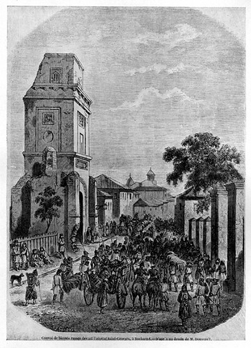 (1854) gravura reprezentand soldati rusi raniti in timpul razboiului Crimeii din 1854