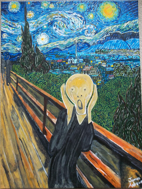 The Scream on a Starry Night