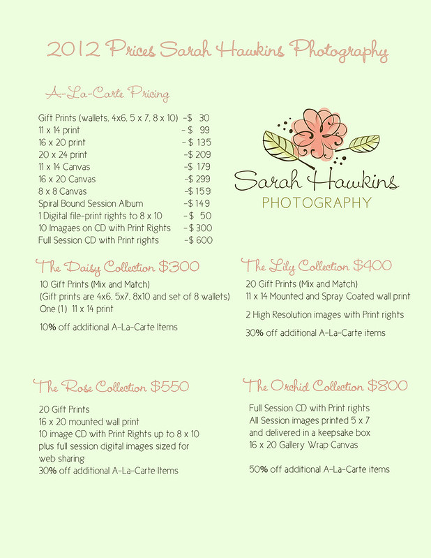 2012 pricing sheet