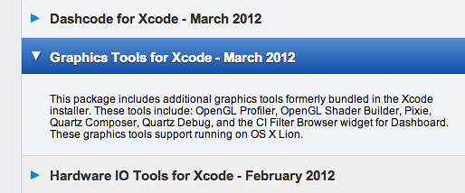 Downloading the Graphics Tools for Xcode