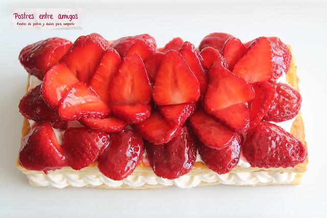 Hojadre de fresas y nata