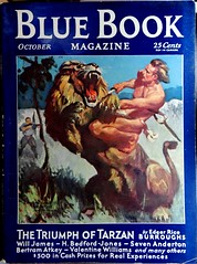 """Blue Book (Oct, 1931). """"The Triumph of Tarzan."""" Cover by Laurence Herndon"""