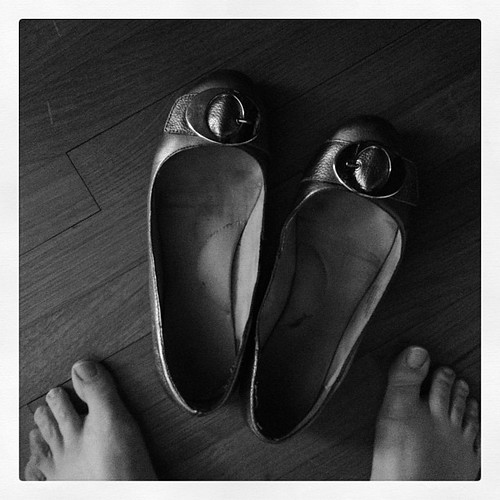 Home sick with the flu today. Closest I plan to get to shoes. Yesterday's silver flats. #febphotoaday #shoes