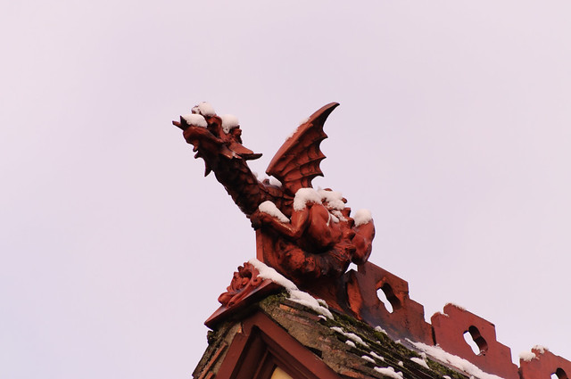 The roof dragon in the snow
