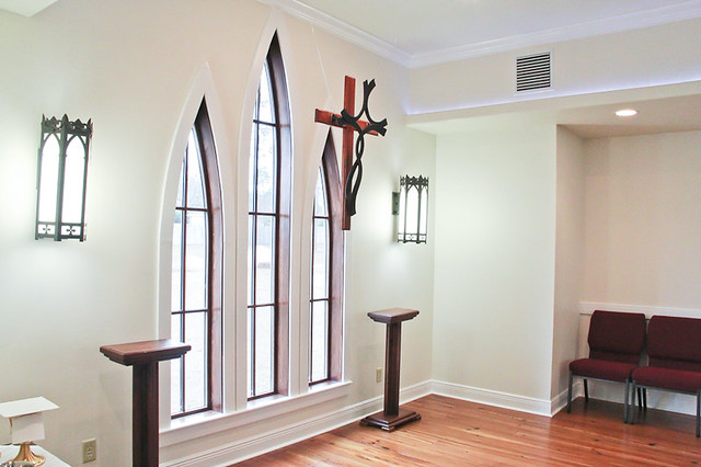 gothic windows behind alter