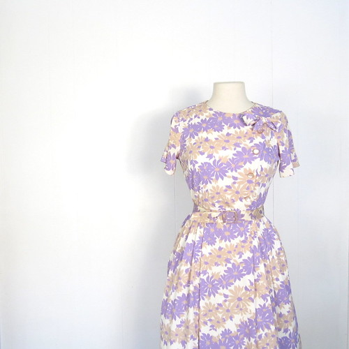 1950s spring floral print dress with bow, by Shelton Stroller