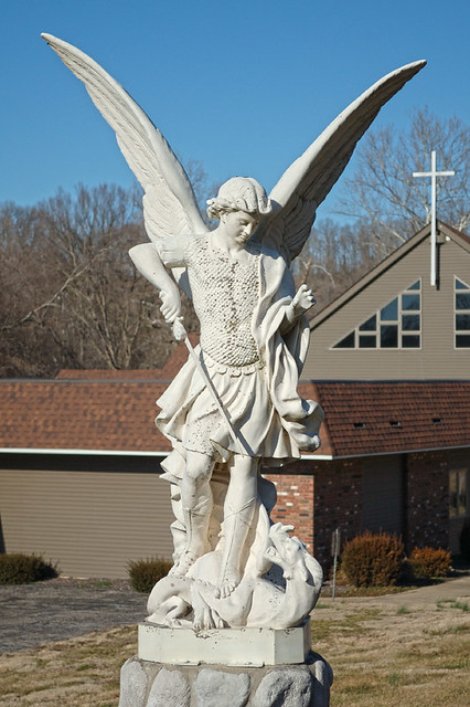 Statue of Saint Michael the Archangel, at Saint Michael Church, in Steelville, Missouri, USA