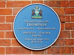 Photo of Silvanus Phillips Thompson blue plaque