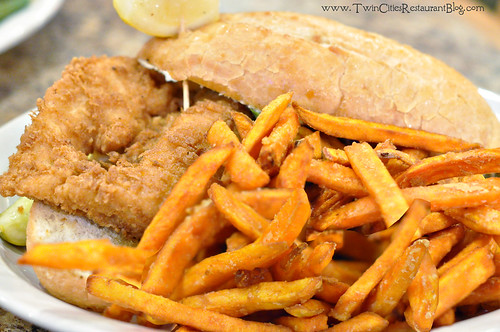 Walleye Sandwich with Sweet Potato Fries at Fishtale Grill ~ New Prague, MN