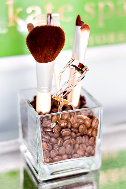 makeup brushes with coffee beans