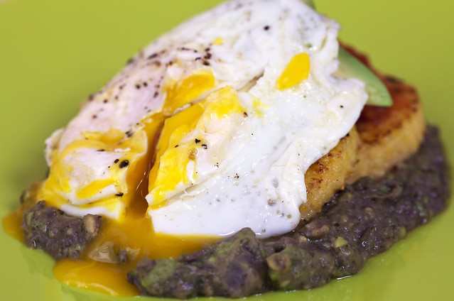 Polenta Cakes with Black Bean and Avocado Mash + Fried Egg