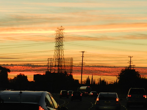 california morning sky usa cars lines clouds sunrise lights power traffic unitedstates january 405 freeway brake 2012 torrance nikoncoolpixp500